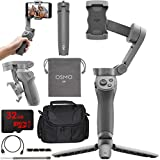 DJI OSMO Mobile 3 Combo Lightweight and Portable 3-Axis Handheld Gimbal Stabilizer With Active Track 3.0 Essentials Combo With Osmo Grip Tripod + Photography Gadget Bag Case & High Speed Memory Bundle