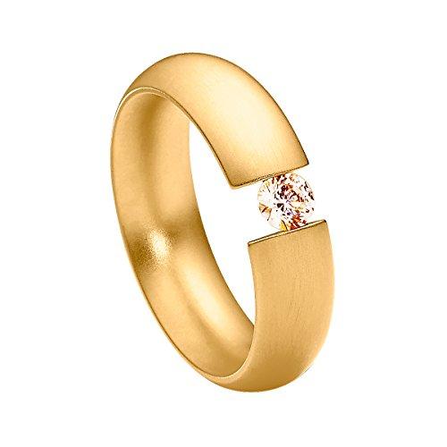 Heideman Ring Damen Intensio aus Edelstahl Gold farbend matt Damenring für Frauen mit Swarovski Stein Zirkonia braun im Brillant Schliff 4mm