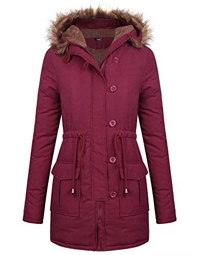 iClosam Damesjack, lange mantel wintermantel winterjas parka gewatteerde mantel met capuchon