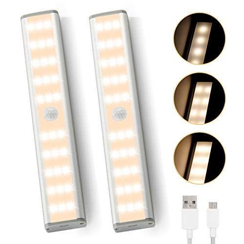 innislink Schrankleuchten 30 LED, 2 PCS Schrankbeleuchtung mit Bewegungsmelder Unterbauleuchte Küche Wiederaufladbar Schranklicht Nachtlicht leiste für Schrank Kleiderschrank Zimmer Bad Flur- Warmweiß