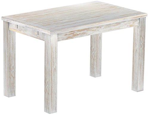 Brasilmöbel Esstisch Rio Classico 120x73 cm Shabby Brasil Massivholz Pinie Holz Esszimmertisch Echtholz Größe und Farbe wählbar ausziehbar vorgerichtet für Ansteckplatten