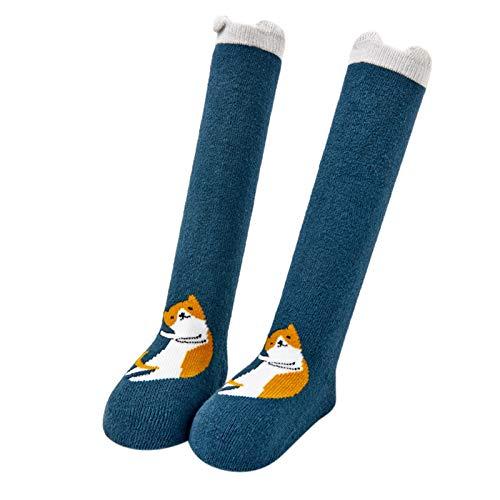 YWLINK Bebé NiñAs Calcetines hasta La Rodilla AlgodóN Calcetines De Bebe Calcetines Altos De Dibujos Animados Calcetines Calientes Calcetines De Suelo Calcetines Deportivos (Azul, M)