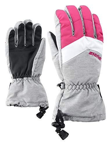 Ziener Kinder LETT AS glove junior Ski-Handschuhe / Wintersport   wasserdicht, atmungsaktiv, grau (light melange), 3