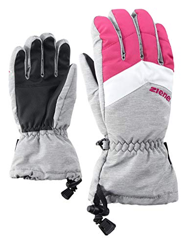 Ziener Kinder LETT AS glove junior Ski-Handschuhe / Wintersport | wasserdicht, atmungsaktiv, grau (light melange), 5