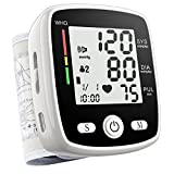 Blood Pressure Monitor, Digital Wrist Blood Pressure Cuff BP Machine Irregular Heartbeat Detector 2x99 Readings Memory Large Display Voice with Carrying case