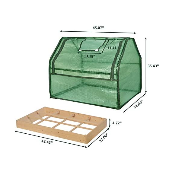 SGHB Solid Wood Raised Garden Bed with Greenhouse Planters Box for Vegetables Flower Fruits Herb Outdoor (Green Round) 4 The greenhouse of this combination is composed of PE cover and anti-rust sprayed steel tube. The garden bed is made of well-polished fir wood without painting. These high-quality materials extend its service time. Four-sided tie are used to fix the cover with each poles. All-round edging increases durability while beautifying the appearance. The steel frame can be quickly installed by plastic connectors. There are 5 wooden strips to divide the space, can be easily installed and removed. Supports growing multiple plants at the same time, improve the utilization of space and convenient for you to manage flowers and plants.