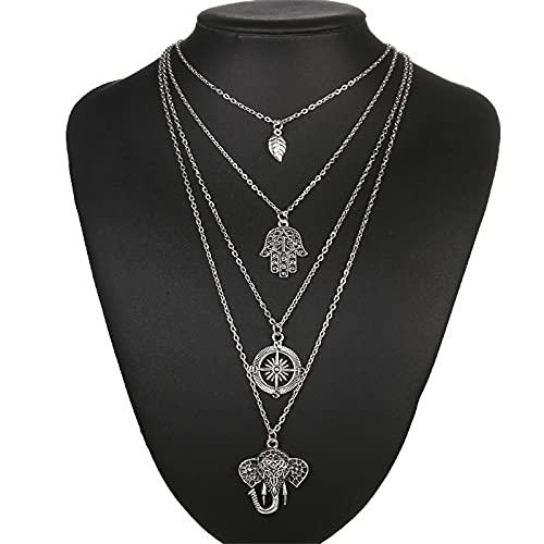 ShFhhwrl Collar Collar De Múltiples Capas, Colgante De Elefante De Hoja, Collar, Joyería, Brújula De Metal, Joyería, Colgantes