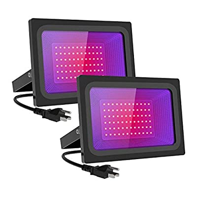 MORSEN 2 Pack 100W LED Black Lights,Blacklight LED Flood Light IP66 with Plug,for Dance Party, Glow in The Dark, Stage Lighting, Aquarium, Body Paint, Fluorescent Poster, Neon Glow