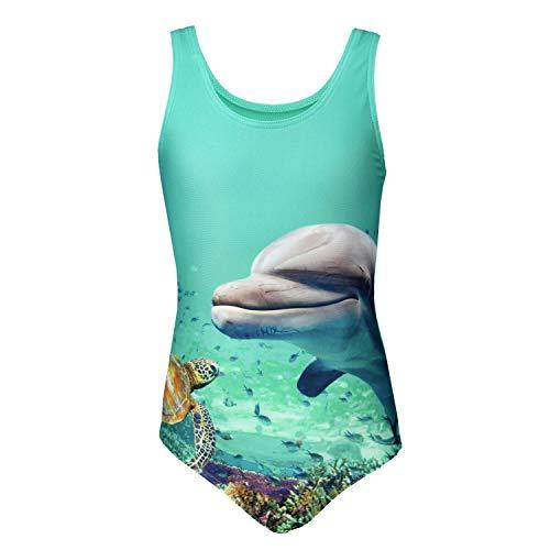 Aquarti Mädchen Badeanzug mit Ringerrücken Print, Farbe: Delphin/Grün, Größe: 134