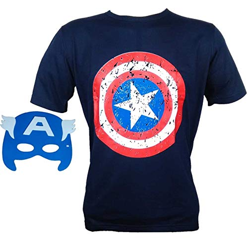 Camiseta Capitão América Adulto Com Mascara Vingadores M - 42