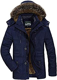 Lanbowo Coats For Men Winter Coats Jackets Warm Windproof Thicken with Detachable Hood for Outdoor (blue,6XL)