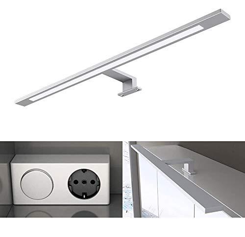 Breite: 60cm 9W LED Spiegellampe, Trafo mit Schalter und Steckdose, 230V, 9W, 750 Lumen, universalweiß (5000 K), Energieklasse A