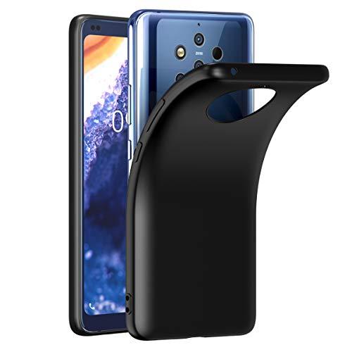 VGUARD Hülle Hülle Kompatibel für Nokia 9 PureView, Premium Schwarz Tasche Schutzhülle Weiche TPU Silikon Gel Schutzhülle Hülle Cover für Nokia 9 PureView
