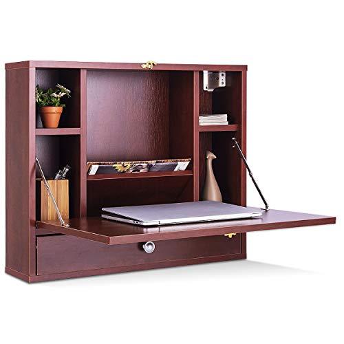 GOPLUS Wandklapptisch mit Regal, Arbeitstisch für PC Computer, Wandschrank Ausklappbar, PC-Schreibtisch Modern, Computertisch Platzsparend, Laptoptisch Holz Braun/Weiß (Braun)