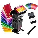 Filtros de Colores Transparentes Gelatinas Fotográficas superpuestas, Filtro de Gel de Correción, Filtro de Luz de Gel Plástico, Fotografía Estudio Ilumincación, Speedlite, Flash Gels Filter,12 PCS