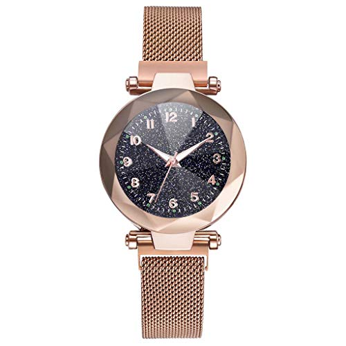 MIS1950s Women Watches Rose Gold Romantic Starry Sky Dial Wrist Watch - Ladies Magnetic Clock Girl Luxury Convex Glass Quartz Mesh Belt Wristwatches (G-Rose Gold)