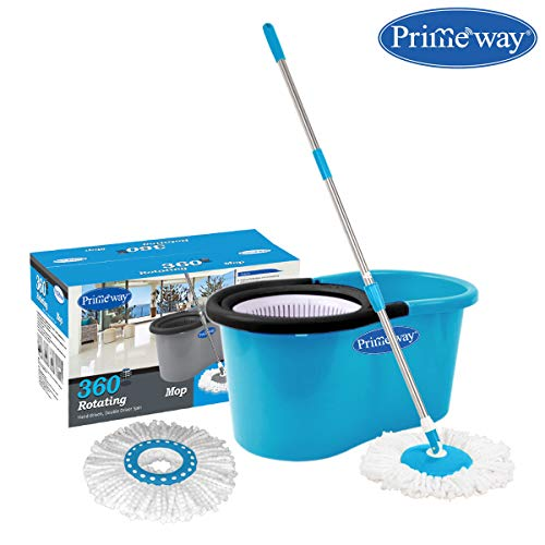 Primeway Pw266Me Double Driver Rotating Spin Mop Bucket Set with 2 Mop Head Refills, Blue