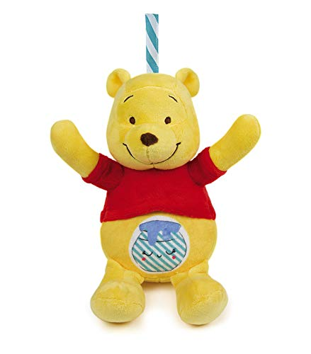 Clementoni 17275 Disney Baby – Winnie Puuh Leucht-Plüsch, Kuscheltier für Kleinkinder & Säuglinge, Stofftier mit Licht und Musik, Einschlafhilfe für Kinder