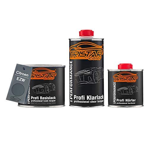 TRISTARcolor Autolack Set Dose spritzfertig für Citroen EZW Gris Fer Metallic/Eisengrau Metallic Basislack + 2K Klarlack 1,25L