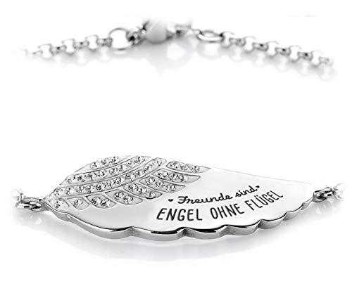 Silvity Damen Gravur-Armband Edelstahl veredelt Kristallen 17,5 cm bis 21,5 cm Farbe: Silber (Silber(Freunde sind Engel o. F.))