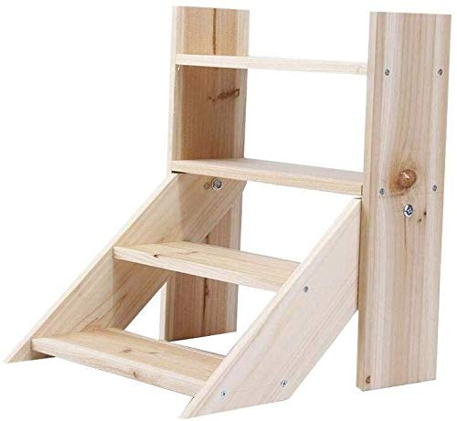 Stair stoel Mini Houten Flower Stand 4 Tier Stap Planken Indoor Balkon Display Rack Stand European Style Kleine Houten Ladder Plant Pot Holder Exhibition Hall Bureau Living Room Balcony stair kruk