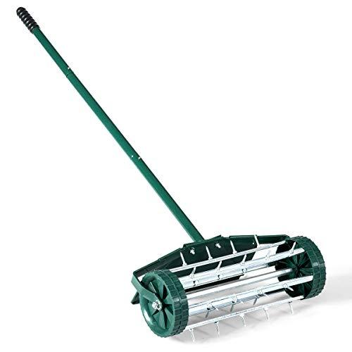 HAPPYGRILL Manual Lawn Aerator 18-inch Rolling Lawn Aerator Garden Yard Rotary Push Tine Spike Soil Aeration