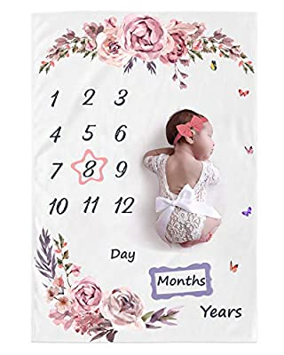 "Babebay Baby Monthly Milestone Blanket Boys and Girls, Baby Photo Month Blanket for Newborn Baby, 2 Frames+1Headband,Large 60""x 40"""