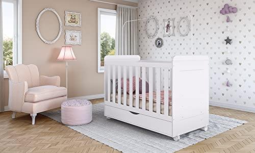 Apremio.store Cuna Baby. con Barra para mosquitero, cajón y Ruedas. MDF y Maderas procesadas. Estilo Infantil.