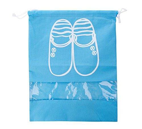 Lot de 4 sacs à chaussures WeiMay en tissu non-tissé doux - Étanche à la poussière - Sac de rangement avec cordon, Non-tissé, Bleu, Large