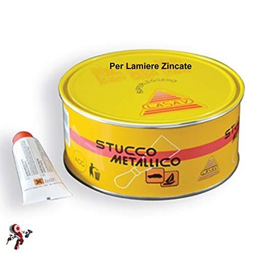 Stucco lamiera stucco metallico bicomponente Stucco metallico per lamiere zincate con catalizzatore 750 ml Lasav protezione lamiera