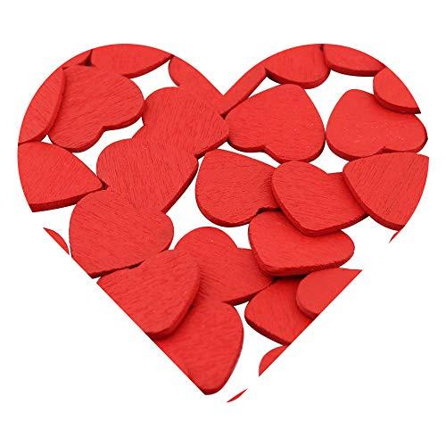 DEKOWEAR® Herzen selbstklebend Klebepunkt Hochzeit Party Herz Partydeko dekorieren Holz Streudeko Holzherzen Deko Scrapbooking Sticker Geschenk Aufkleber Rot 50 Stück