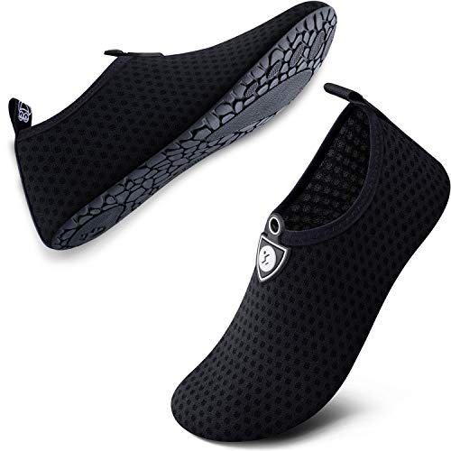SIMARI Water Shoes for Women Men Anti Slip Summer Outdoor Beach Swim Surf Pool SWS001 Circular Black