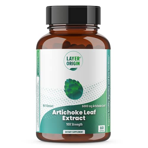 Layer Origin | Artichoke Leaf Extract 6000 mg | Dietary Supplement to Support Liver Cleanse, Liver Functions, and Digestive Health | 10X Strength | 60 Vegetable Capsules