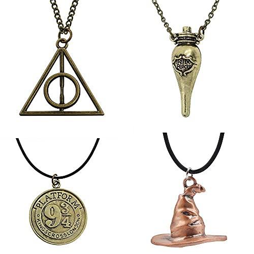 Collar con colgante de escoba mágica de Harry Potter y las Reliquias de la Muerte de la Escoba de Anime, collar periférico, unisex, 4 unidades