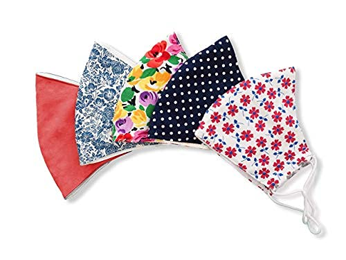 Stylish Cotton Face Mask with Filter Pocket, Handmade Floral Plaid design facemasks for women, washable reusable 3 layers, Ready to SHIP, Pack of 5 (5 FACE MASKS)