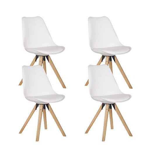 Esszimmerstühle, 4 Stück, gepolstert, mit Holzbein für Küche und Büro