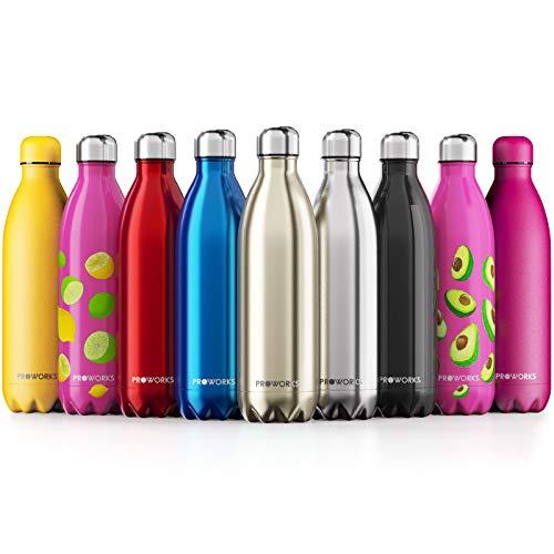 Proworks Edelstahl Trinkflasche | 24 Std. Kalt und 12 Std. Heiß - Premium Vakuum Wasserflasche - Perfekte Isolierflasche für Sport, Laufen, Fahrrad, Yoga, Wandern und Camping - 350ml - Gold