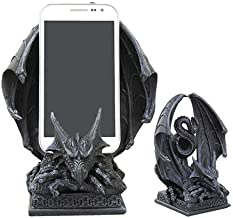 Ebros Ancient Crouching Dragon Cell Phone Holder Statue Mythical Fantasy Dragon Figurine In Faux Stone Resin Desktop Decor