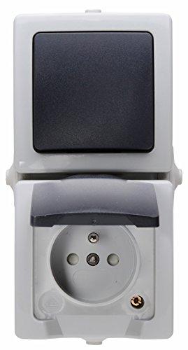 Kopp 136856005 Kombination senkrecht Aus-/Wechselschalter und Mitten-Schutzkontakt-Steckdose, AP-FR Nautic grau