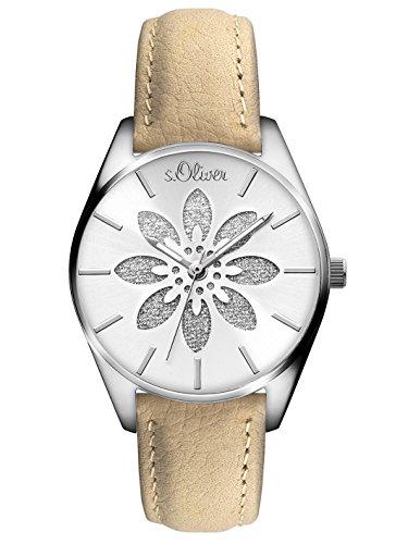 s.Oliver Damen Analog Quarz Uhr mit Leder Armband SO-3236-LQ