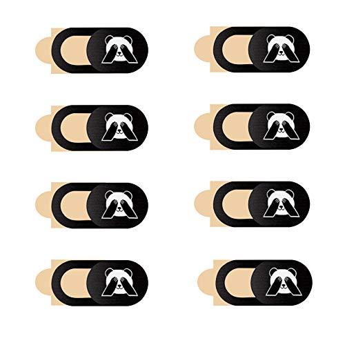 JeoPoom Cubierta Webcam[8 pcs], Webcam Cover Slider Diseño Ultra Fino, Tapar Camara Portatil, Anti-Hacker, Camera Cover para Ordenadores, PC, Portátiles, Tablets y Móviles(Patrón de Panda)