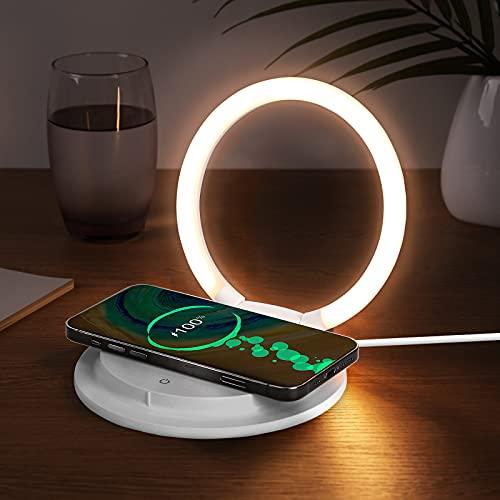 Lámpara LED táctil regulable para mesita de noche con cargador inalámbrico, moderna lámpara de escritorio, 3 niveles de brillo, luz nocturna para niños, con soporte USB para teléfono móvil