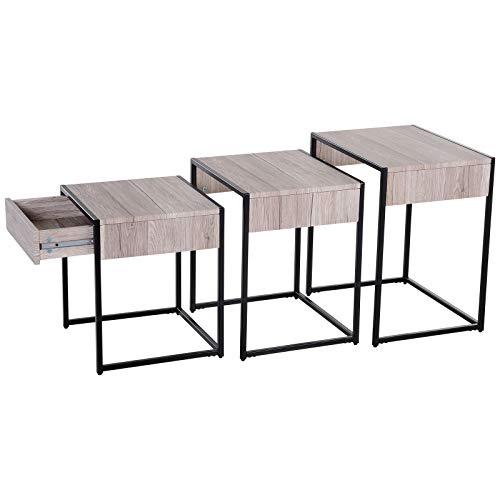 HOMCOM Mesa de Centro 3 Mesitas de Café Minimalista Patas de Acero con Funda de Plástico Mesa Nido para Salón Sofá 50x38x55cm