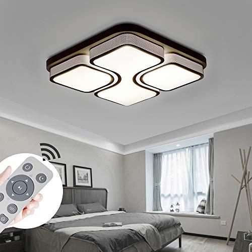 MYHOO 64W LED Regulable Luz de techo Diseño de moda moderna plafón,Lámpara de Bajo Consumo Techo para Dormitorio,Cocina,oficina,Lámpara de sala de estar,Color Negro (64W Regulable)