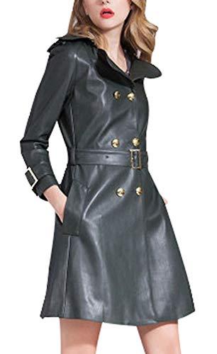 5ALL Damen Frauen Leder Jacke Schaffell Lederbekleidung Trenchcoat lange Damen Klassische Lederjacke motorrad lederjacke