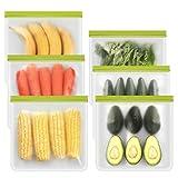 Reusable Gallon Freezer Bags - 6 Packs Food Grade Reusable Freezer Bags Easy Seal & Leak-Proof, BPA-FREE, PEVA Washable Freezer Bags for Food Marinate Meat, Fruit Cereal, Sandwich, Snack, Travel Items