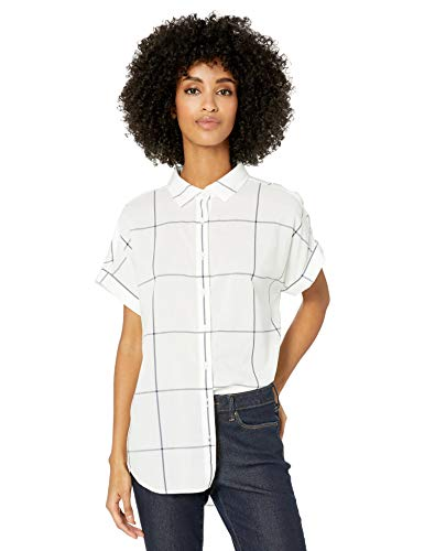 Goodthreads Lightweight Poplin Short-Sleeve Button-Front dress-shirts, Off-white/Navy Windowpane, US XXL (EU 3XL-4XL)