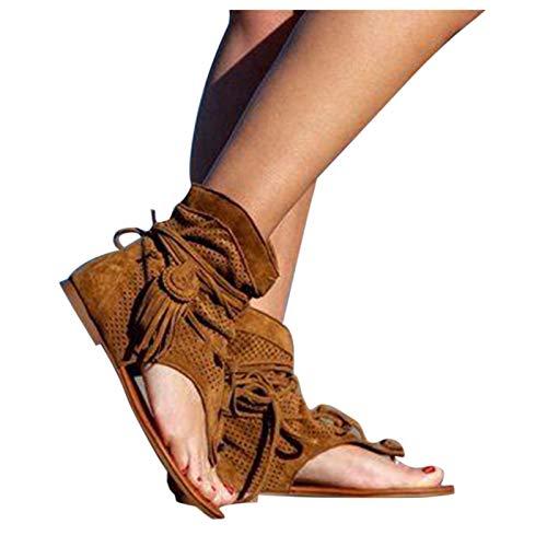 YHIIen Sandalias para mujer, estilo medieval, retro, bohemio, gladiador, con flecos, chanclas para mujer, informales, para verano, con tirantes, planas, chanclas para la playa 2 marrón 39