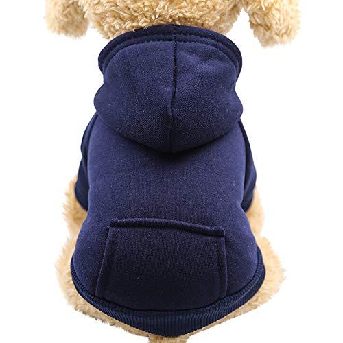 Pet Fleece Dog Hoodies, Basic Hoodie Sweater Cotton Jacket Sweatshirt Coat with Pocket for Small Medium Dog Cat (Navy, S)