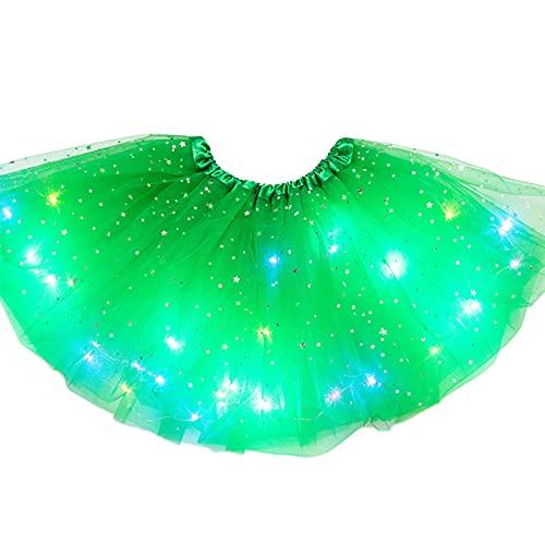 Henreal Falda de tutú para niña con lentejuelas LED con luz de pettiskirt para ballet, luminosa y falda de tul brillante